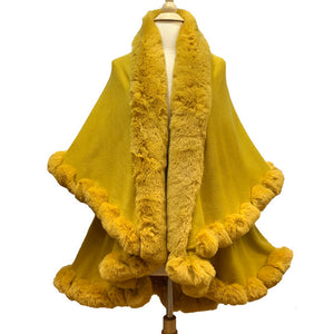 Elegant 2 Row Mustard Faux Fur Trim Knit Poncho, Mustard Faux Fur Trim Knit Ruana Cape, the perfect accessory, luxurious, trendy, super soft chic vest cape, keeps you warm & toasty. You can throw it on over so many pieces elevating any casual outfit! Perfect Gift for Wife, Mom, Birthday, Holiday, Christmas, Anniversary, Fun Night Out