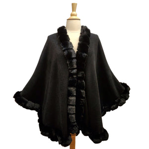 Elegant Black Faux Fur Trim Poncho Plush Black Faux Fur Trim Knit Ruana Cape Black Faux Fur Wrap, the perfect accessory, luxurious, trendy, super soft chic capelet, keeps you warm & toasty. You can throw it on over so many pieces elevating any casual outfit! Perfect Gift Birthday, Anniversary, Christmas, Valentine's Day, Special Occasion