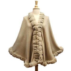 Elegant Beige Faux Fur Trim Poncho Plush Beige Faux Fur Trim Knit Ruana Cape Beige Faux Fur Wrap, the perfect accessory, luxurious, trendy, super soft chic capelet, keeps you warm & toasty. You can throw it on over so many pieces elevating any casual outfit! Perfect Gift Birthday, Anniversary, Christmas, Valentine's Day, Special Occasion