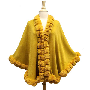 Elegant Mustard Faux Fur Trim Poncho Plush Mustard Faux Fur Trim Knit Ruana Cape Mustard Faux Fur Wrap, the perfect accessory, luxurious, trendy, super soft chic capelet, keeps you warm & toasty. You can throw it on over so many pieces elevating any casual outfit! Perfect Gift Birthday, Anniversary, Christmas, Valentine's Day, Special Occasion