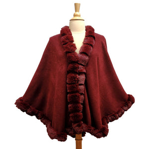 Elegant Burgundy Faux Fur Trim Poncho Plush Burgundy Faux Fur Trim Knit Ruana Cape Burgundy Faux Fur Wrap, the perfect accessory, luxurious, trendy, super soft chic capelet, keeps you warm & toasty. You can throw it on over so many pieces elevating any casual outfit! Perfect Gift Birthday, Anniversary, Christmas, Valentine's Day, Special Occasion