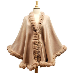 Elegant Blush Faux Fur Trim Poncho Plush Blush Faux Fur Trim Knit Ruana Cape Blush Faux Fur Wrap, the perfect accessory, luxurious, trendy, super soft chic capelet, keeps you warm & toasty. You can throw it on over so many pieces elevating any casual outfit! Perfect Gift Birthday, Anniversary, Christmas, Valentine's Day, Special Occasion
