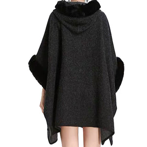 Elegant Black Faux Fur Hood Sleeve Trim Ruana Black Faux Fur Trim Poncho Outwear, the perfect accessory, luxurious, trendy, super soft chic capelet, keeps you warm & toasty. You can throw it on over so many pieces elevating any casual outfit! Perfect Gift Birthday, Holiday, Christmas, Anniversary, Wife, Mom, Special Occasion, Mom