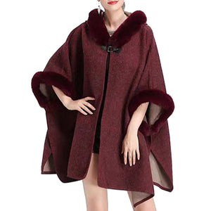 Elegant Burgundy Faux Fur Hood Sleeve Trim Ruana Burgundy Faux Fur Trim Poncho Outwear, the perfect accessory, luxurious, trendy, super soft chic capelet, keeps you warm & toasty. You can throw it on over so many pieces elevating any casual outfit! Perfect Gift Birthday, Holiday, Christmas, Anniversary, Wife, Mom, Special Occasion, Mom