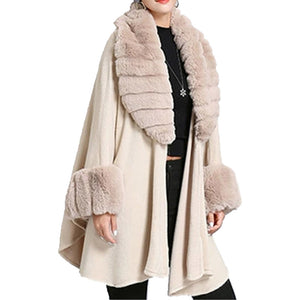 Elegant Beige Faux Fur Trim Collar & Cuffs Knit Poncho Beige Faux Fur Trim Ruana Cape the perfect accessory, luxurious, trendy, super soft chic capelet, keeps you warm & toasty. You can throw it on over so many pieces elevating any casual outfit! Perfect Gift for Wife, Mom, Birthday, Holiday, Christmas, Anniversary, Fun Night Out
