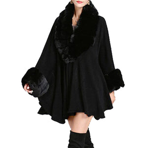 Elegant Black Faux Fur Trim Collar & Cuffs Knit Poncho Black Faux Fur Trim Ruana Cape the perfect accessory, luxurious, trendy, super soft chic capelet, keeps you warm & toasty. You can throw it on over so many pieces elevating any casual outfit! Perfect Gift for Wife, Mom, Birthday, Holiday, Christmas, Anniversary, Fun Night Out