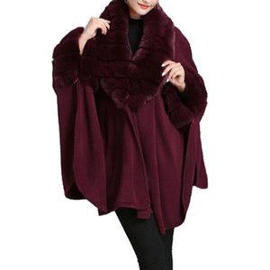 Elegant Burgundy Faux Fur Trim Collar & Cuffs Knit Poncho Burgundy Faux Fur Trim Ruana Cape the perfect accessory, luxurious, trendy, super soft chic capelet, keeps you warm & toasty. You can throw it on over so many pieces elevating any casual outfit! Perfect Gift for Wife, Mom, Birthday, Holiday, Christmas, Anniversary, Fun Night Out