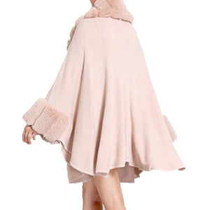 Elegant Pink Faux Fur Trim Collar & Cuffs Knit Poncho Pink Faux Fur Trim Ruana Cape the perfect accessory, luxurious, trendy, super soft chic capelet, keeps you warm & toasty. You can throw it on over so many pieces elevating any casual outfit! Perfect Gift for Wife, Mom, Birthday, Holiday, Christmas, Anniversary, Fun Night Out
