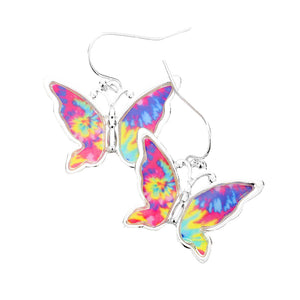 Multicolor Tie Dye Earrings makes a standout addition to your collection designed to add a pop of color to any outfit style, jewelry that fits your lifestyle! Perfect Birthday Gift, Anniversary Gift, Mother's Day Gift, Just Because Gift, Vacation, Beach, Summer Jewelry, Graduation Gift, Tie Dye Butterfly Earrings