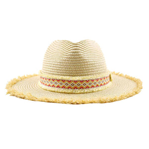 Beige Frayed Edges Aztec Trim Straw Hat, Beach Hat, eco-friendly hat whether you're basking under the sun at the beach, pool or taking a stroll on a warm day, this sun hat can keep you cool. Perfect Birthday Gift, Mother's Day Gift, Anniversary Gift, Graduation Gift, Frayed Ends Beach Hat, Aztec Straw hat, Thank you Gift