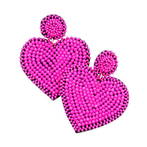 Hot Pink Seed Bead Heart Earrings, spring is around the corner, bring pop of color to your day & make a statement with these hand-crafted to perfection heart earrings. Perfect Birthday Gift, Valentine's Day Gift, Anniversary Gift, Loved One Gift,  Mother's Day Gift, Seed Bead Earrings, Handcrafted Earrings, Just Because Gift