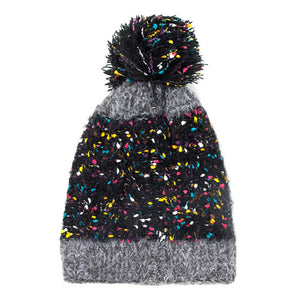 Multi Color Sprinkles Pom Pom Beanie Hat Winter Hat Pom Pom Hat, reach for this classic toasty hat to keep you incredibly warm in the chilly winter weather, the wintry touch finish to your outfit. Perfect Gift Birthday, Christmas, Holiday, Anniversary, Stocking Stuffer, Secret Santa, Valentine's Day, Loved One, BFF