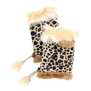 Tan Leopard Fingerless Fur Trim Gloves Leopard Fingerless Gloves give your look so much eye-catching texture with these fingerless gloves in a cozy faux suede, Warm gloves Comfy Gloves, open finger to use electronic devices, gloves with fur trim & adjustable drawstring