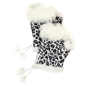 White Leopard Fingerless Fur Trim Gloves Leopard Fingerless Gloves give your look so much eye-catching texture with these fingerless gloves in a cozy faux suede, Warm gloves Comfy Gloves, open finger to use electronic devices, gloves with fur trim & adjustable drawstring