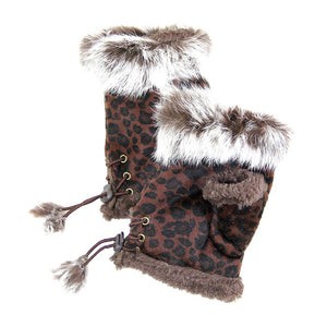 Brown Leopard Fingerless Fur Trim Gloves Leopard Fingerless Gloves give your look so much eye-catching texture with these fingerless gloves in a cozy faux suede, Warm gloves Comfy Gloves, open finger to use electronic devices, gloves with fur trim & adjustable drawstring