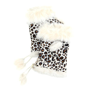 Ivory Leopard Fingerless Fur Trim Gloves Leopard Fingerless Gloves give your look so much eye-catching texture with these fingerless gloves in a cozy faux suede, Warm gloves Comfy Gloves, open finger to use electronic devices, gloves with fur trim & adjustable drawstring