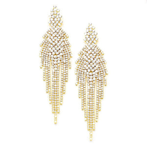 Glitzy Long Crystal Rhinestone Fringe Evening Earrings Special Occasion, elegance becomes you, light, playful, glamorous, the perfect accessory to add sophisticated glow, throw your hair up, show off how artfully these sway! Weddings, Prom, Sweet 16, Quinceanera, Graduation, Evening Wear; Perfect Gift Birthday, Christmas, Anniversary