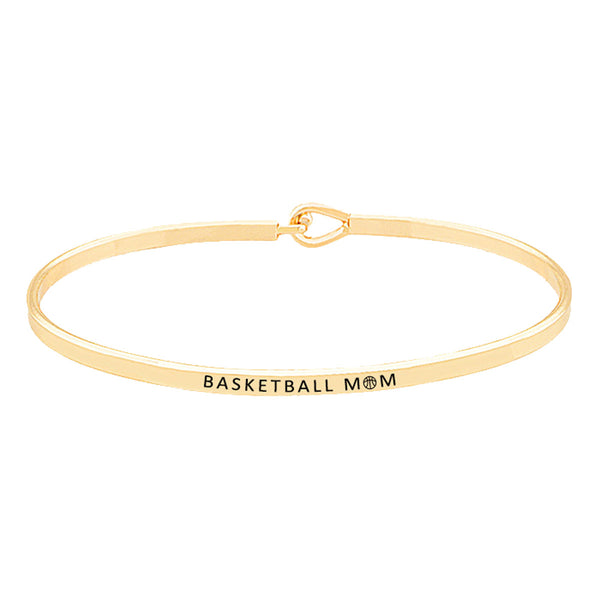 """Basketball Mom"" Brass Thin Metal Hook Bracelet Thin Basketball Mom Hook Bracelet, wear with your favorite tops & dresses all year round! Thank mom for supporting you at your basketball games, let her know how much she is loved and appreciated. Great Birthday Gift, Mother's Day Gift, Just Because Gift, Thank you Gift"