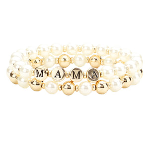 2pc MAMA Pearl Metal Ball Stretch Message Bracelets Pearl Metal Ball Mama Bracelet