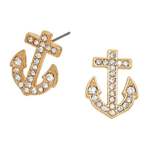 Gold Crystal Pave Anchor Earrings, add a a nautical theme to your outfit with this beautiful crystal pave anchor earrings. Add a polished look to your outfit, be vacation ready with these cute stud earrings. Perfect Birthday Gift, Mother's Day Gift, Anniversary Gift, Vacation Getaway, Thank you Gift, Nautical Jewelry