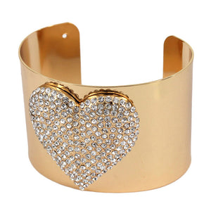 Crystal Heart Bracelet Embellished Rhinestone Heart Wide Cuff Bracelet Crystal Heart Cuff Bracelet, this Bling Bracelet will put the spotlight on you. Adds a stylish glow to any ensemble. Plenty of crystals for extra SHINE! Perfect Birthday Gift, Valentine's day Gift, Mother's Day Gift, Galentine's Gift, Love you Gift, Crystal Heart Cuff
