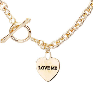 Gold Heart Love Me Necklace Toggle closure, wear it with your favorite tops & dresses all year round! This piece is versatile & goes with practically anything! This Chic necklace is a great gift, Perfect Birthday Gift, Valentine's Day Gift, Anniversary Gift, Mother's Day Gift, Just Because, Thank you, Love you!