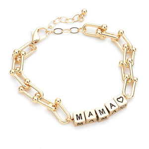 Gold MAMA Metal Cube Message Bracelet, with your favorite tops & dresses! Show mom how special, appreciated & loved she is with this fabulous gift. Perfect for Birthday Gift, Mother's Day Gift, Thank you Gift or Just Because! Regalo Dia de las Madres, Regalo para Mama, MAMA Metal Cube Bracelet