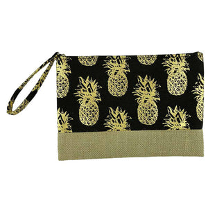 Gold Metallic Pineapple Pouch Bag, perfect for money, credit cards, keys or coins, comes with a wristlet strap for easy carrying. Great for running errands while keeping your hands free. Perfect Birthday Gift, Mother's Day Gift, Anniversary Gift, Vacation Getaway, Thank you Gift, Just Because Gift, Black Pineapple Wristlet