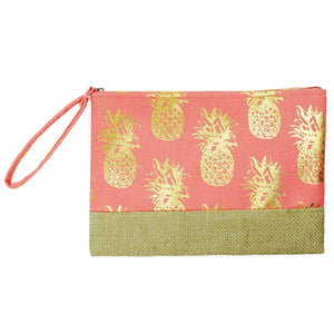 Gold Metallic Pineapple Pouch Bag, perfect for money, credit cards, keys or coins, comes with a wristlet strap for easy carrying. Great for running errands while keeping your hands free. Perfect Birthday Gift, Mother's Day Gift, Anniversary Gift, Vacation Getaway, Thank you Gift, Just Because Gift, Coral Pineapple Wristlet