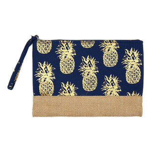 Gold Metallic Pineapple Pouch Bag, perfect for money, credit cards, keys or coins, comes with a wristlet strap for easy carrying. Great for running errands while keeping your hands free. Perfect Birthday Gift, Mother's Day Gift, Anniversary Gift, Vacation Getaway, Thank you Gift, Just Because Gift, Navy Pineapple Wristlet