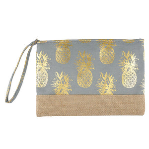 Gold Metallic Pineapple Pouch Bag, perfect for money, credit cards, keys or coins, comes with a wristlet strap for easy carrying. Great for running errands while keeping your hands free. Perfect Birthday Gift, Mother's Day Gift, Anniversary Gift, Vacation Getaway, Thank you Gift, Just Because Gift, Gray Pineapple Wristlet