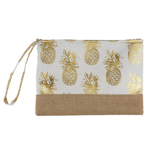Gold Metallic Pineapple Pouch Bag, perfect for money, credit cards, keys or coins, comes with a wristlet strap for easy carrying. Great for running errands while keeping your hands free. Perfect Birthday Gift, Mother's Day Gift, Anniversary Gift, Vacation Getaway, Thank you Gift, Just Because Gift, White Pineapple Wristlet