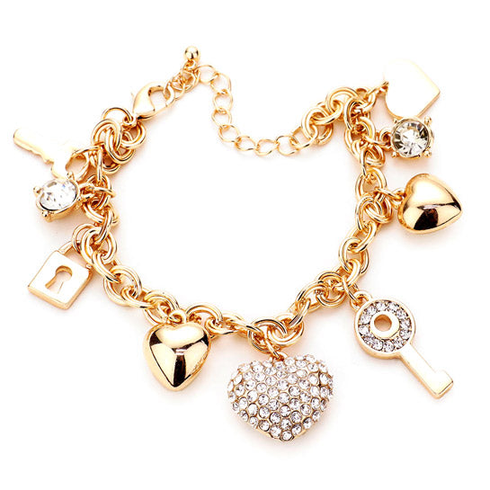 Multi Charm Link Bracelet, Gold Rhinestone Embellished Key Lock Metal Star Heart Charm Bracelet exquisite beautifully crafted charms add a gorgeous glow to any outfit. Perfect Birthday Gift, Anniversary Gift, Mother's Day Gift, Anniversary Gift, Graduation Gift, Prom Jewelry, Just Because Gift, Thank you Gift, Keepsake Gift, Mom Gift, Gold Statement Bracelet