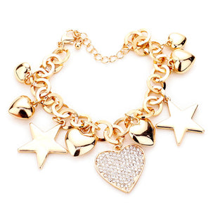 Multi Charm Link Bracelet, Gold Rhinestone Embellished Heart Metal Star Charm Bracelet  exquisite beautifully crafted charms add a gorgeous glow to any outfit. Perfect Birthday Gift, Anniversary Gift, Mother's Day Gift, Anniversary Gift, Graduation Gift, Prom Jewelry, Just Because Gift, Thank you Gift, Keepsake Gift, Mom Gift, Crystal heart Bracelet