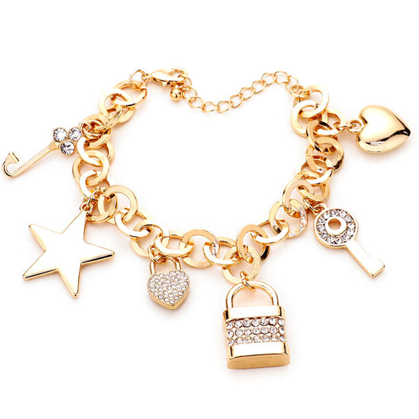 Multi Charm Link Bracelet, Gold Rhinestone Embellished Key Lock Metal Star Heart Charm Bracelet exquisite beautifully crafted charms add a gorgeous glow to any outfit. Perfect Birthday Gift, Anniversary Gift, Mother's Day Gift, Anniversary Gift, Graduation Gift, Prom Jewelry, Just Because Gift, Thank you Gift, Keepsake Gift