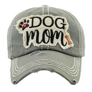Gray Distressed DOG MOM Baseball Cap, great for the cool Dog Mom for the daily walks rain or shine. The distressed frayed style with faded color, embroidered patch and contrast stitching baseball cap with fun statement will become your favorite cap. Perfect Birthday Gift, Mother's Day Gift, Anniversary Gift, Thank you Gift