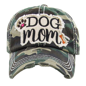 Green Distressed DOG MOM Baseball Cap, great for the cool Dog Mom for the daily walks rain or shine. The distressed frayed style with faded color, embroidered patch and contrast stitching baseball cap with fun statement will become your favorite cap. Perfect Birthday Gift, Mother's Day Gift, Anniversary Gift, Thank you Gift