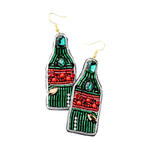 Layla Felt Back Multi Bead Champagne Bottle Earrings Beaded Champagne Bottle