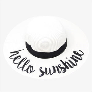 Hello Sunshine Embroidery Straw Floppy Sun Hat, whether you're basking under the sun at the beach, lounging by the pool or kicking back with friends at the lake, a great hat can keep you cool and comfortable even when the sun is high in the sky. Beach, Pool, Vacation, Honeymoon, Cruise; Black, White, Beige; 100% Paper