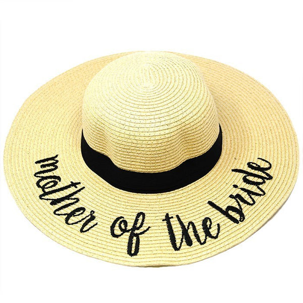Mother of the Bride Embroidery Straw Floppy Sun Hat, (MOB) whether you're basking under the sun at the beach, lounging by the pool or kicking back with friends at the lake, a great hat can keep you cool and comfortable even when the sun is high in the sky.  Beach, Pool, Vacation, Honeymoon, Cruise; Beige;  100% Paper