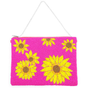 Bright Vibrant Clutch Bag, Seed Bead Sunflower Crossbody Bag,  Perfect Birthday Gift, Valentine's Day Gift, Anniversary Gift, Loved One Gift, Mother's Day Gift, Vacation Ready, Sunflower Clutch Bag, seed Bead Handbag, Handcrafted Handbag, Glass Handbag, Beach Crossbody Bag, Hot Pink Sunflower Handbag, Fuchsia Sunflower Handbag