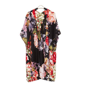 Black Floral Kimono, Lightweight floral print Kimono easy to pair with many tops, from camis to relaxed tees, elevate any casual outfit! Luxurious, flowy kimono wear it over your swimsuit for a day in the sun. Perfect Birthday Gift, Anniversary Gift, Valentine's Day Gift, Thank you Gift, Just because Gift, Mother's Day Gift, Beachwear