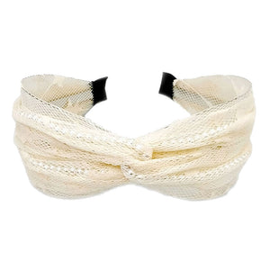 Ivory Mesh Headband with Pearls, Pearl Mesh Headband Pearl Accent Headband Pearl Headband the perfect amount of pearls to dress up your tresses with this fabric design, wide band and knotted top. Be the ultimate trendsetter wearing this chic headband with all your stylish outfits! Perfect Birthday Gift, Mother's Day Gift, Prom, Graduation Gift