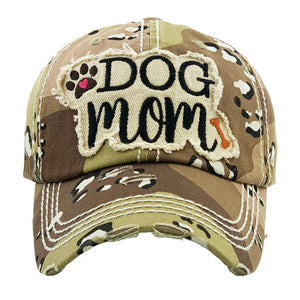 Khaki Distressed DOG MOM Baseball Cap, great for the cool Dog Mom for the daily walks rain or shine. The distressed frayed style with faded color, embroidered patch and contrast stitching baseball cap with fun statement will become your favorite cap. Perfect Birthday Gift, Mother's Day Gift, Anniversary Gift, Thank you Gift