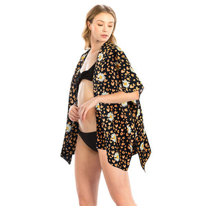 Daisy Flower Print Kimono Cover Up, Accent your look with this soft lightweight Daisy Kimono, wear over your favorite blouse & slacks for a chic stylish look, use over your bathing suit & enjoy the beach or pool. Perfect Birthday Gift, Mother's Day Gift, Anniversary Gift, Vacation Attire, Thank you Gift, Add to your Easter Ensemble, Floral Kimono Cover Up