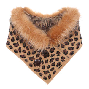 Leopard Pattern Faux Fur Collar Double Button Detail Scarf Triangle Leopard Scarf Leopard Shrug feel warm over the shoulder scarf, stylish addition to any cold-weather ensemble, adds a modern touch to the classic style with a bold animal print. Put over jacket, jazz up your look. Perfect Gift Birthday, Christmas, Holiday, Anniversary, Night Out