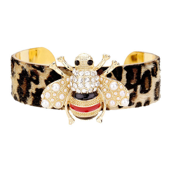 Leopard Pattern Cuff Pearl & Crystal Honey Bee Cuff Bracelet, Honey Bee a symbol of wealth, good luck & harmony. Bee spirit reminds you to enjoy what you have. Use our Bee Bracelet to dress up or dress down your ensemble. Honey Bee Cuff Bracelet makes a perfect Birthday Gift, Mother's Day Gift, Prom, Graduation Gift, Anniversary Gift, Thank you Gift, Bee Jewelry, Honey Bee Cuff