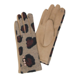 Leopard Pattern Smart Touch Gloves Button Accent Leopard Print Gloves Leopard Gloves , eye-catching, warm & cozy animal print Smart Touch Gloves, classic chic with are the perfect blend of utility & style. Ensures you can answer emails without getting frostbite. Perfect Gift Birthday, Christmas, Holiday, Anniversary, Loved One