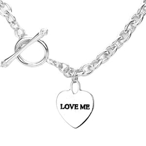 Rhodium Heart Love Me Necklace Toggle closure, wear it with your favorite tops & dresses all year round! This piece is versatile & goes with practically anything! This Chic necklace is a great gift, Perfect Birthday Gift, Valentine's Day Gift, Anniversary Gift, Mother's Day Gift, Just Because, Thank you, Love you!
