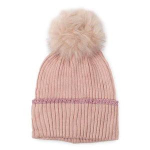 Dusty Pink Lurex Edge Pom Pom Beanie Hat Lurex Edge Cuff Beanie Hat Winter Hat, warm & cozy, this winter hat adds a glitzy sparkle to your wardrobe on windy chilly days. Classic, trendy & chic easy to match your ensemble. Perfect Gift Birthday, Christmas, Holiday, Stocking Stuffers, Anniversary, Valentine's Day, Loved One, Friend